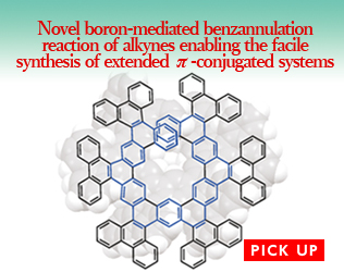 """Novel boron-mediated benzannulation reaction of alkynes enabling the facile synthesis of extended <span style=""""font-family: serif"""">π</span>-conjugated systems"""